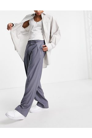 ASOS Wide leg smart pants in grey herringbone