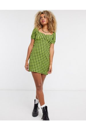Noisy May Skater dress with puffed sleeves in green check-Black