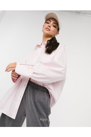 ASOS Super oversized relaxed cotton dad shirt in pink