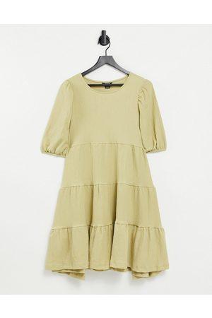 Monki Mi tiered mini smock dress in khaki-Green