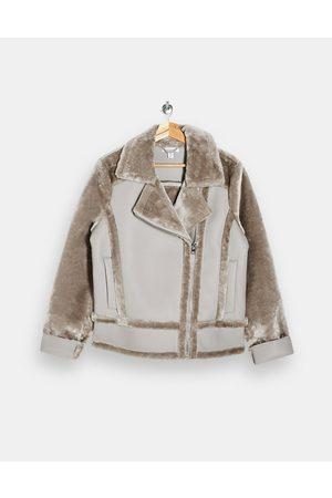 Topshop Faux-shearling biker jacket in mink-Multi