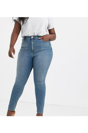 ASOS ASOS DESIGN Curve high-rise ridley 'skinny' jeans in pretty mid stonewash-Blue