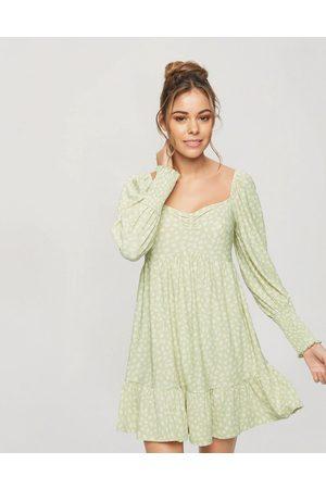 Miss Selfridge Smock dress in green animal-Grey