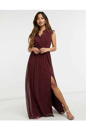 Little Mistress Lace detail maxi dress in burgundy-Red