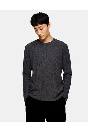Topman Long sleeve ribbed t-shirt in charcoal grey