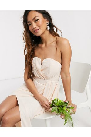 TFNC Bridesmaid exclusive bandeau wrap midaxi dress with pleated detail in light blush-Cream