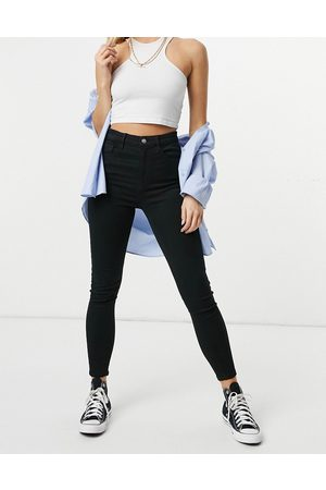 Stradivarius Super high waist skinny jeans with stretch in black