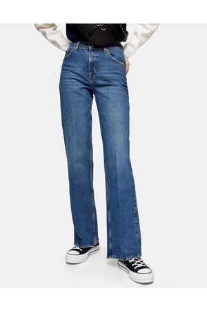 Topshop Relaxed Flare Jean in Mid Blue wash