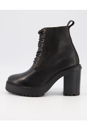 ASOS Heeled lace-up boots in black leather on black platform sole