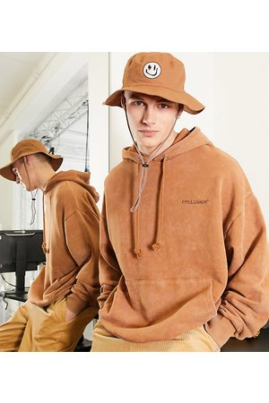 COLLUSION Oversized hoodie in brown acid wash co-ord