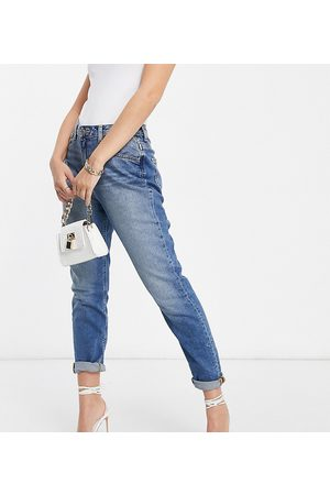 ASOS ASOS DESIGN Petite hourglass high rise farleigh 'slim' mom jeans in authentic midwash-Blue