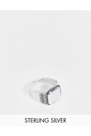 ASOS Sterling silver signet ring with textured edge in burnished silver