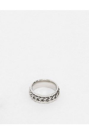 ASOS Stainless steel band ring with moving chain in silver tone