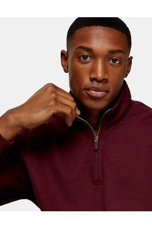 Topman 1/4 zip sweatshirt in brown