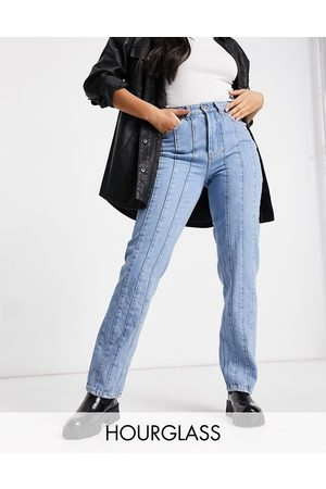 ASOS High rise straight leg jeans with seams in midwash-Blue