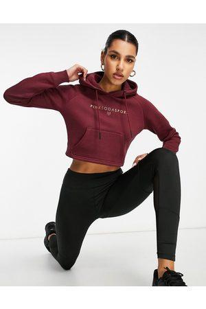 Pink Soda Sport Ruby cropped hoodie in burgundy-Black