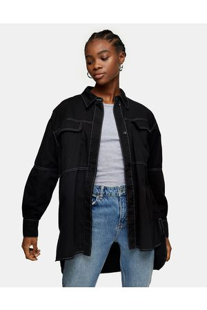 Topshop Oversized casual stitched shirt in black