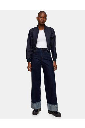 Topshop Wide Leg Jean in Indigo wash-Blue