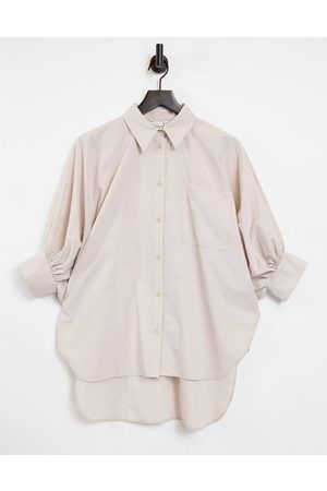 ASOS Oversized cotton shirt with 3/4 volume sleeves in stone-Neutral