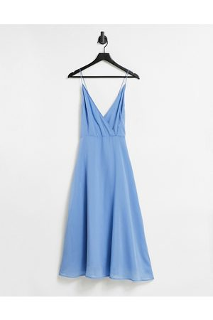 ASOS Cami wrap midi dress with lace-up back-Blue