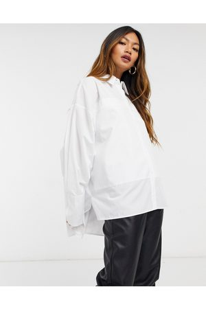 ASOS Relaxed oversized panelled dad shirt in white