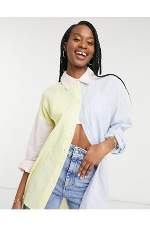 ASOS Super oversized relaxed dad shirt in mixed seersucker pastel stripe-Multi