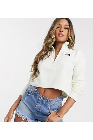 The North Face 100 Glacier 1/4 zip cropped fleece in white Exclusive to ASOS