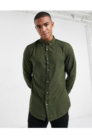River Island Regular fit flannel shirt in khaki-Red