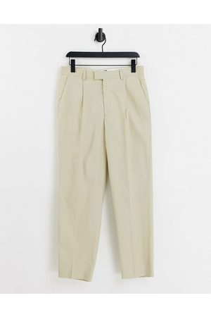 ASOS Oversized tapered smart pants in stone linen-Neutral