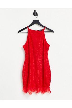 Ax Paris Peplum hem lace dress in red