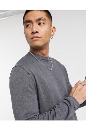 ASOS Super soft viscose sweatshirt with seam detail in washed black