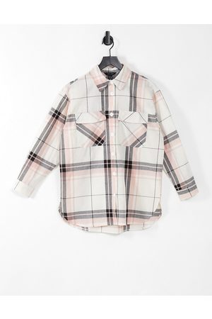New Look Oversized boyfriend shirt in soft white check
