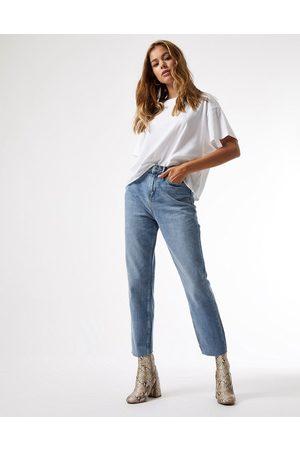Miss Selfridge High waist slim leg jeans in mid wash blue