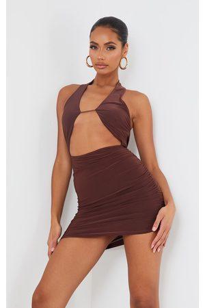 PRETTYLITTLETHING Chocolate Slinky Halterneck Bust Detail Bodycon Dress