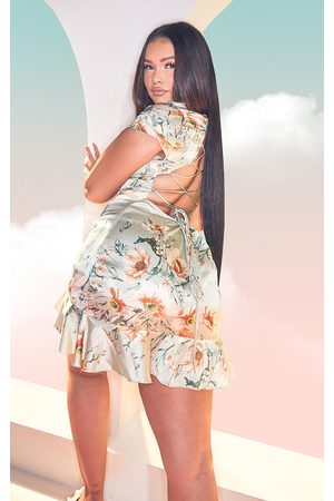 PRETTYLITTLETHING Women Bodycon Dresses - Plus Sage Floral Criss Cross Back Frill Hem Bodycon Dress