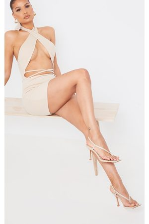 PRETTYLITTLETHING Nude PU Square Toe Thong Sling Back Heels
