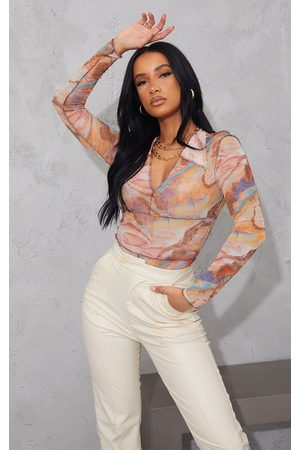 PRETTYLITTLETHING Women Bodies - Light Marble Printed Mesh Contrast Stitch Long Sleeve Bodysuit