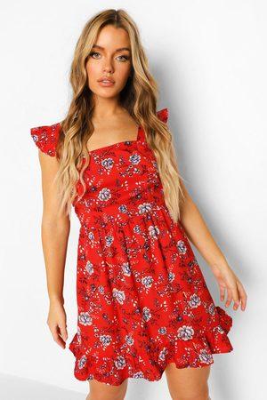 Boohoo Frill Wide Shoulder Strap Floral Mini Dress