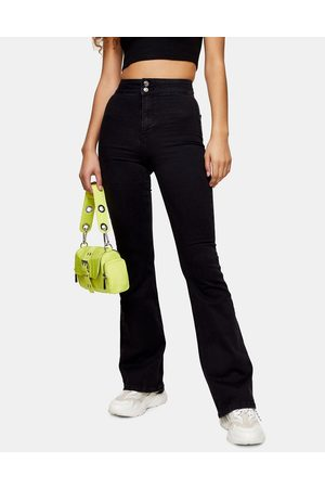 Topshop Skinny stretch flare jeans in washed black