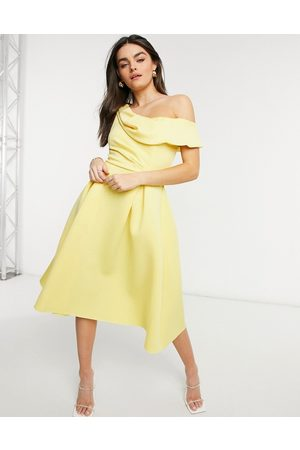 ASOS Drape fallen shoulder midi skater prom dress in lemon-Yellow