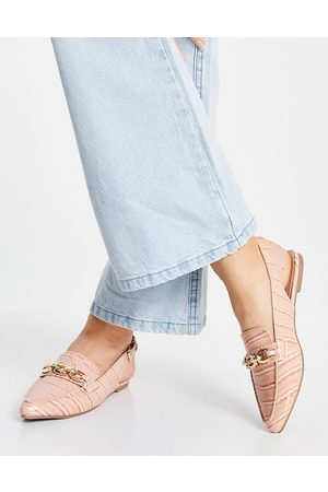 London Rebel Sling back ballet flats with chain in beige-Neutral