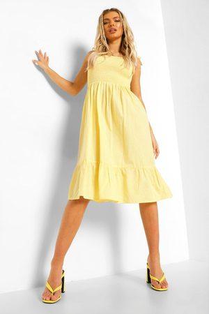 Boohoo Tie Strap Shirred Bust Cotton Midi Dress- Lemon