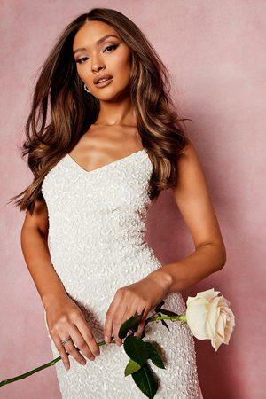 Boohoo Bridesmaid Hand Embellished Godet Mesh Maxi Dress- Ivory