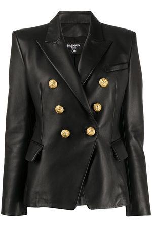 Balmain Women Leather Jackets - Buttoned leather jacket
