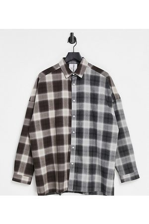 COLLUSION Oversized shirt in spliced check-Multi