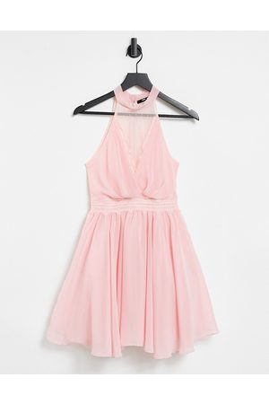 TFNC Bridesmaid mini skater dress with lace insert in blush-Pink