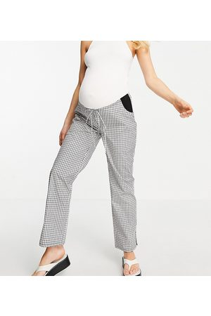ASOS ASOS DESIGN Maternity straight leg pull on poplin pant in mono check with side bump band-Black