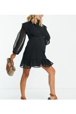 ASOS ASOS DESIGN Maternity nursing button-through mini skater shirt dress with lace inserts in black dobby