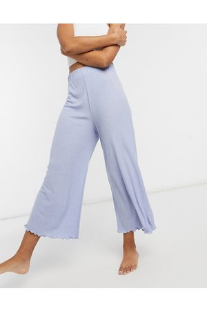 ASOS Mix and match lounge rib culotte in blue-Grey