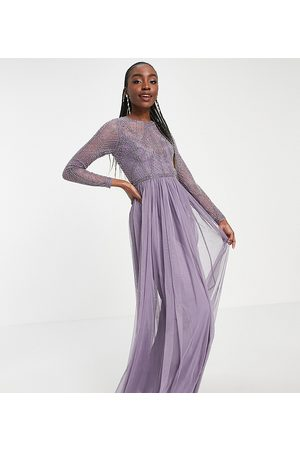 ASOS ASOS DESIGN Tall embellished bodice maxi dress with tulle skirt-Purple